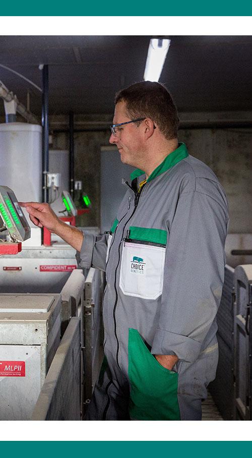 chercheur en génétique porcine au travail sur le réglages d'appareils